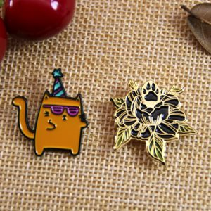A Cat and A Flower Pins