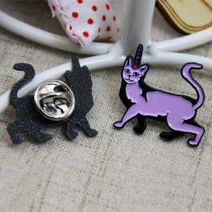 The Two Sides of The Purple Cat Lapel Pins