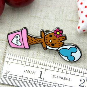 The Size of The Wooden Child Lapel Pin