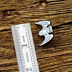 The Size of White OWL Lapel Pin
