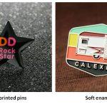Offset printed pins VS soft enamel pins