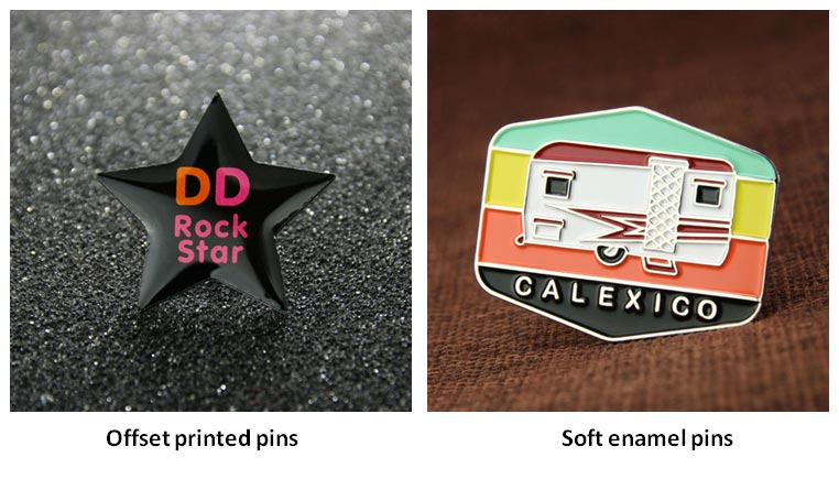 Offset printed pins VS soft enamel pins