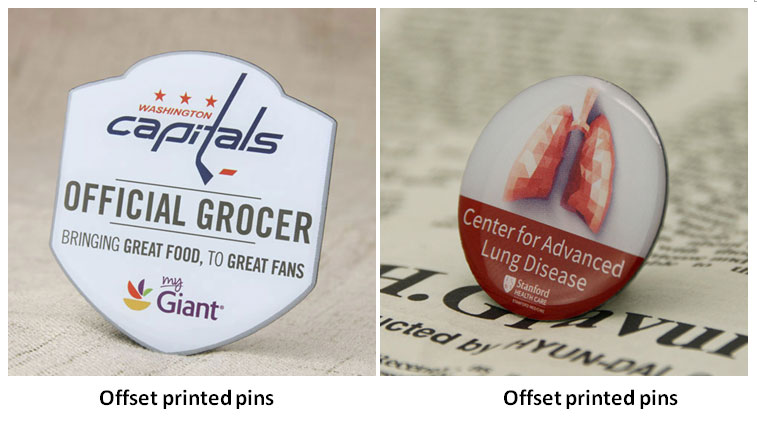 offset printed pins