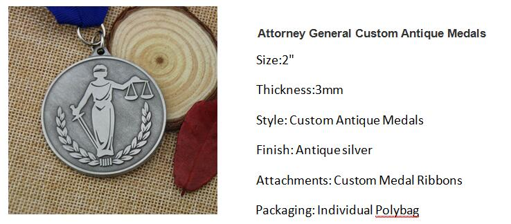 Attorney General Custom Antique Medals