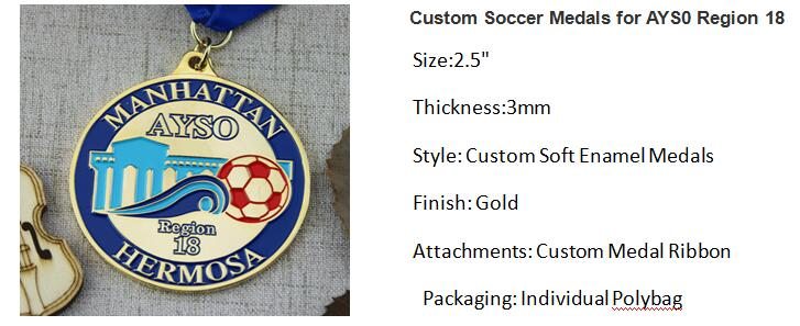Custom Soccer Medals for AYS0 Region 18