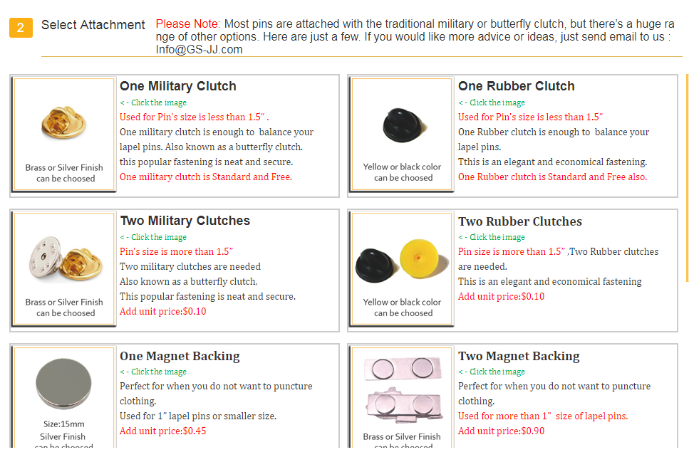 Select Attachment of Lapel pins