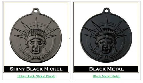 Shiny Black Nickel and Dye Black Finish Medals