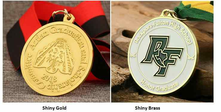 Shiny Gold and Shiny Brass Medals Samples