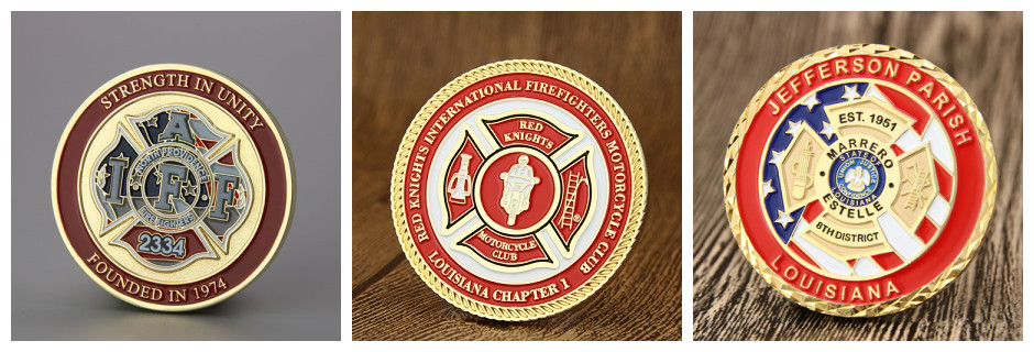 St. Florian cross on firefighter challenge coins