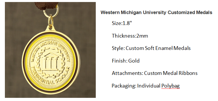 Western Michigan University Customized Medals