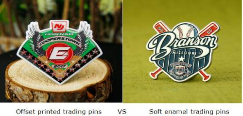 Offset printed trading pins VS Soft enamel trading pins