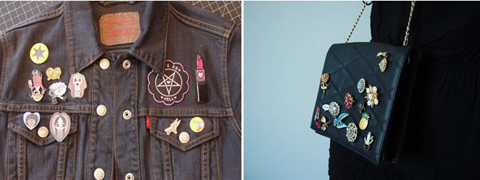 lapel pins on denim jacket or bags