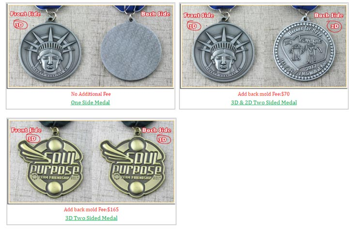 When you have a limited budget in ordering Custom Medals, how to deal with it? There are smart ways to saving costs. Reading or not, it's up to you! 1.One Side Mold VS. Two Side Mold Recommend: 4 stars Usually, many people will choose one side mold at GS-JJ, because it is free. Two side mold is only suggested when you need to post lots of information. Unless you want to convey lots of information or pursuit 3D vision effect or some image must be expressed in 3D technology, 2D is enough. Of course, the price varies. 2D mold needs extra 70$, while 3D needs extra 165$.