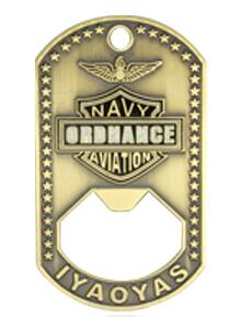Dog tag challenge coin bottle opener