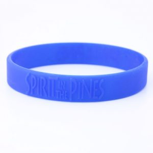 Blue silicone wristbands with embossed contents