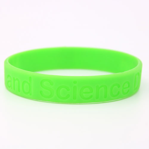 Green silicone wristbands with debossed contents