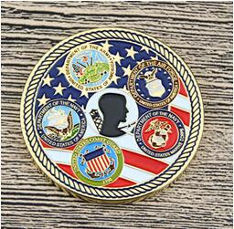 Military symbols on challenge coins