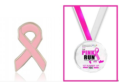 Breast Cancer awareness lapel pins and medals