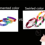 Wristbands with Segmented and Swirled Color