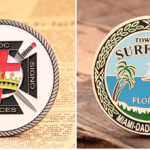 Soft enamel coin and hard enamel coin