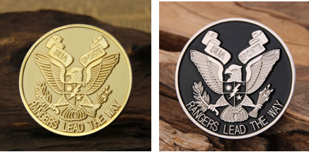 military coins with or without enamel color