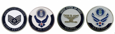 Air Force Staff Sergeant E5 Coin and Colonel Coin