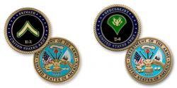 Army E2 Private Coin and E4 Corporal Coin
