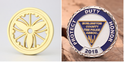 Gold and silver finish challenge coin