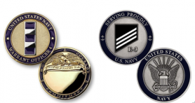 Navy Warrant Officer 4 Challenge Coin and E-3 Coin