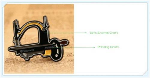 Soft enamel with printing craft