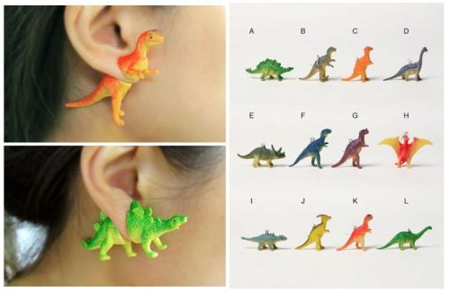 The dinosaur earrings