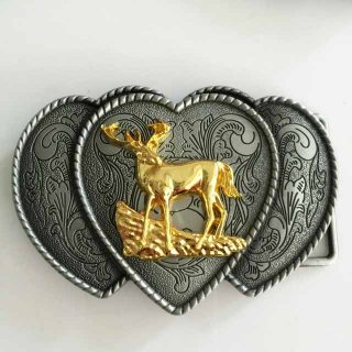 Retail-Western-Cowboy-belt-buckle-For-New-Fashion-Mens-High-Quality-Silver-Love-Gold-Deer-Metal