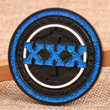 Challenge coins with glitter blue powder