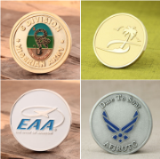 Metallic enameled coins