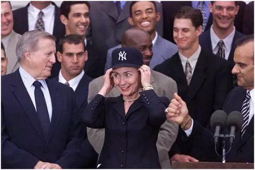 Hillary Clinton wearing NY CAP