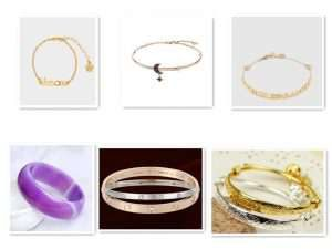 Different styles of bracelets are made of different materials