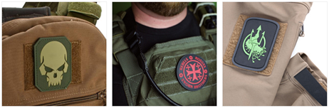 PVC Patches on bag and clothing