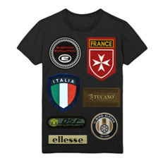 PVC patches on Black t-shirt