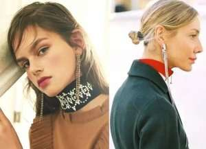People with square and round face are wearing tassel earrings