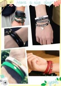 Different people are wearing different bracelets to match their clothes