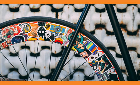Custom Stickers on Bicycle