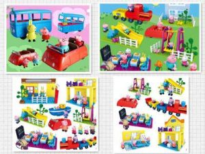 Different scene toys with Peppa Pig theme