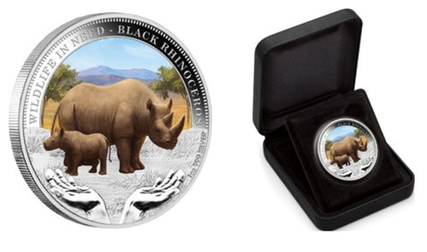 Black Rhinoceros Custom Silver Coins
