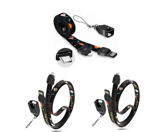 Black Dye-sublimated Lanyards with electronic products