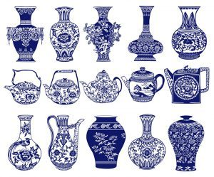 Various blue-and-white porcelains with different patterns