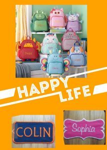 Schoolbags with the embroidered name of kids