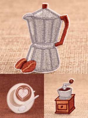 coffee culture embroidered patches