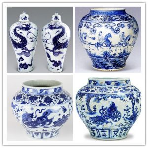 Blue-and-White Porcelain with various patterns