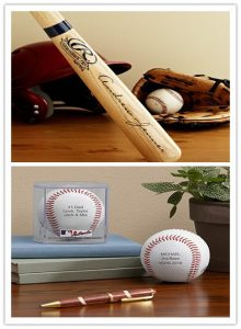 Engraved Baseball Bat and Baseball with his or her name.