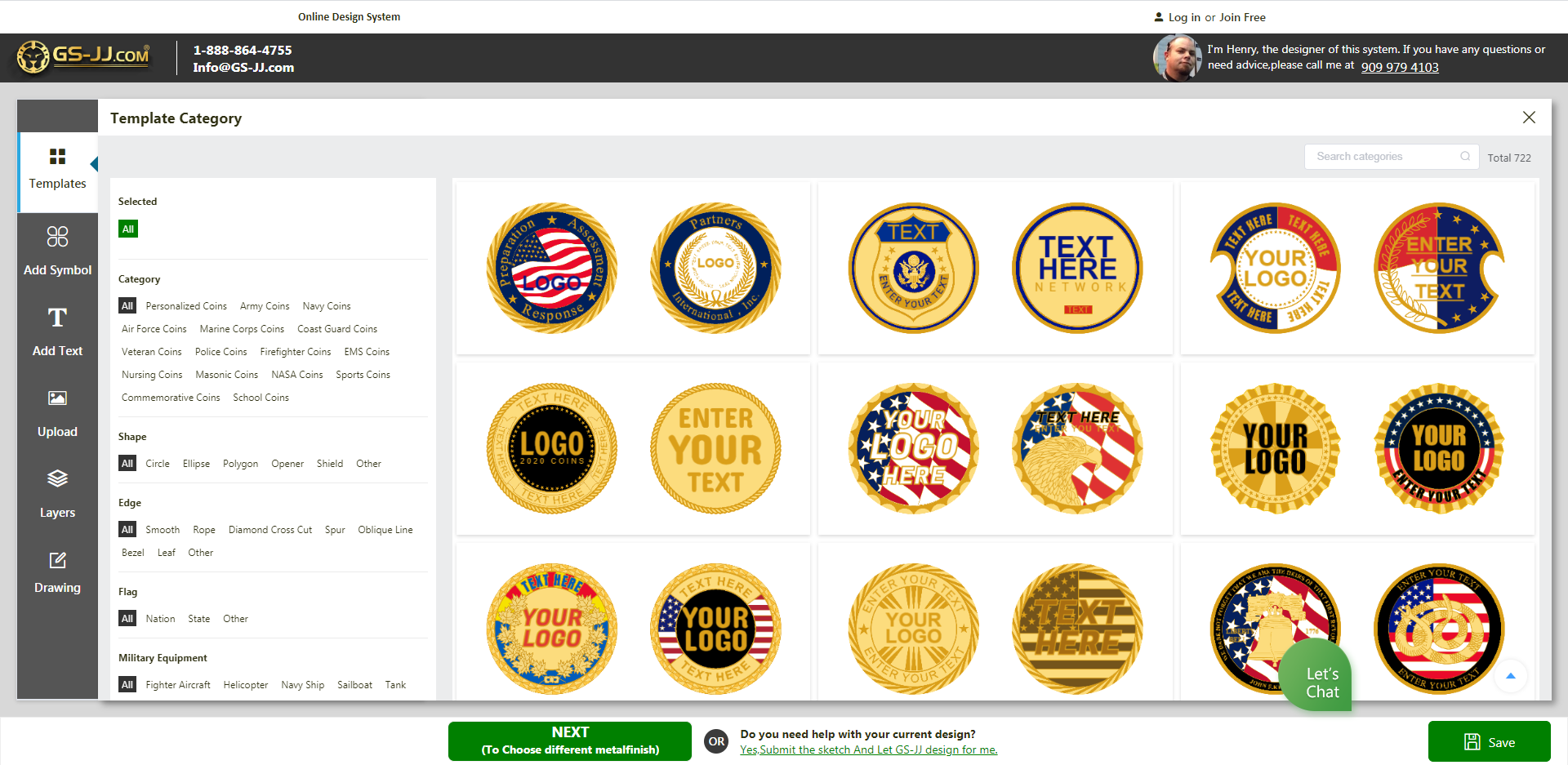 interface of coins online design system